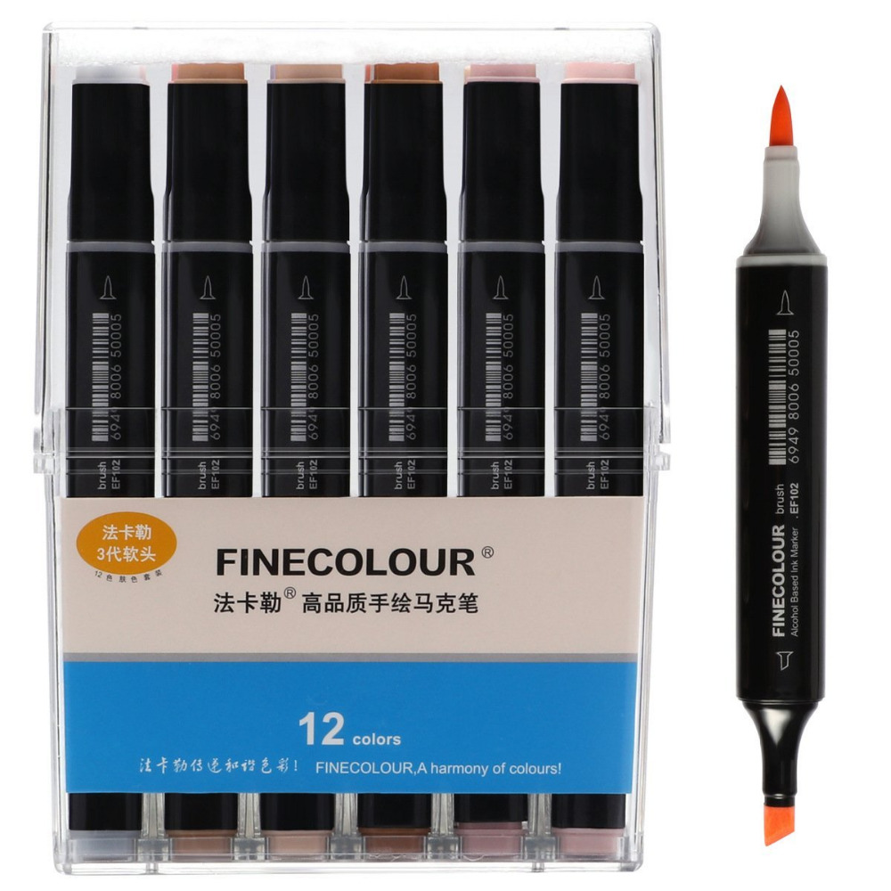 12/24/36 Colors Skin Tone Dual Tip Art Markers - Brush and Chisel Tip - Permanent Sketch Marker for Portrait pneumatic jet chisel jex 24