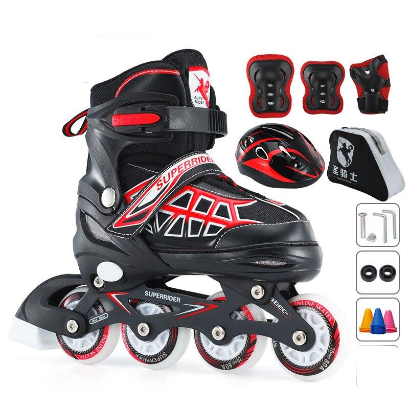 Cool Black Children Kids Inline Skate Roller Skating Shoes Helmet Knee Protector Gear Adjustable Wheels Patines