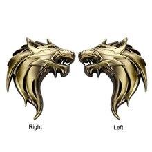 3 Colors Left / Right Wolf Head Zinc Alloy Chrome Metal Emblem DIY Refitting 3D Sticker Car Styling Car Exterior Cool Mark