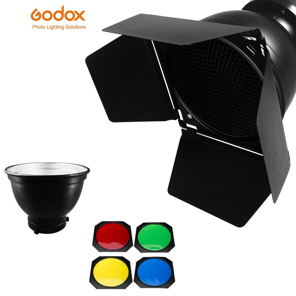 Godox Bd 04 Barn Door Honeycomb Grid 4 Color Filter Bowen
