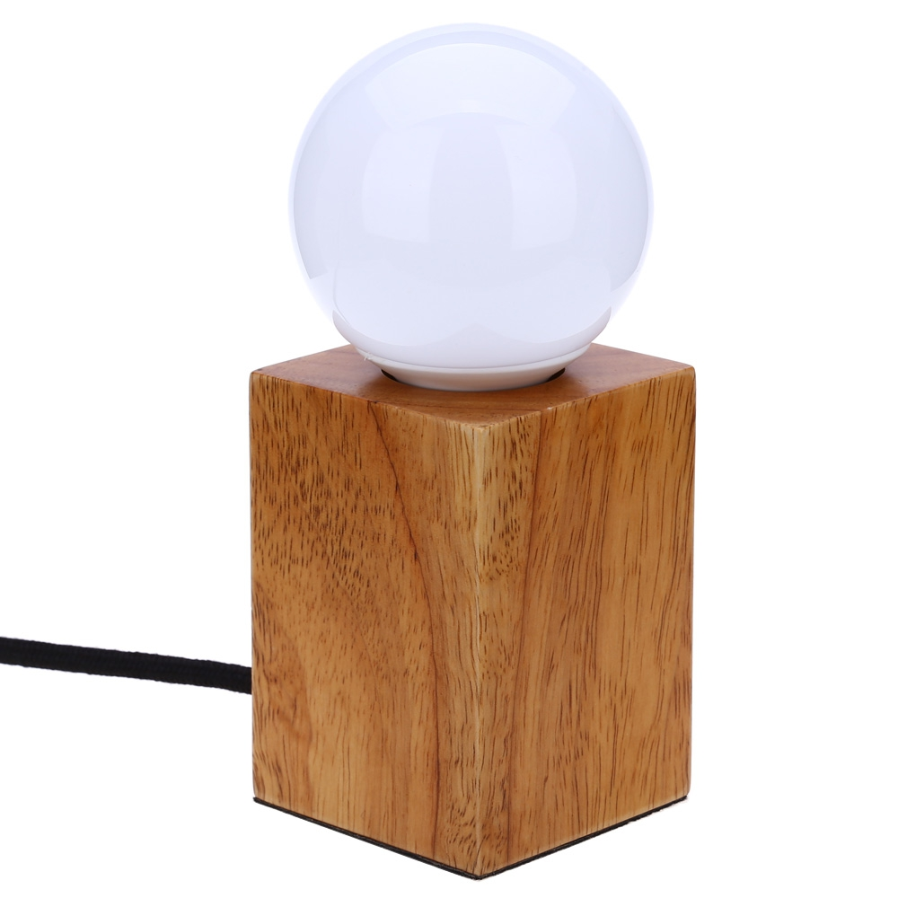 Hot E27 LED Light Lamp Modern Desk Lamp With LED Bulb Minimalist Solid Oak Lamp Square Wood Bedroom Reading Lamp Cafe Bar Light north european style retro minimalist modern industrial wood desk lamp bedroom study desk lamp bedside lamp