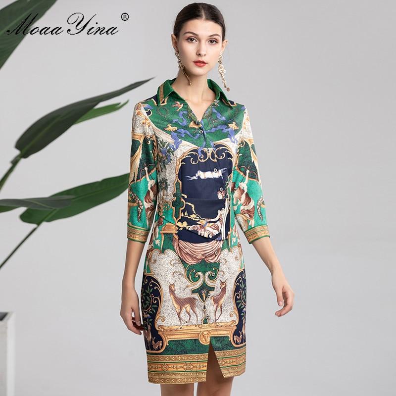 MoaaYina Fashion Designer Runway Dress Spring Women s 3 4 sleeve Turn down Collar Indie Folk
