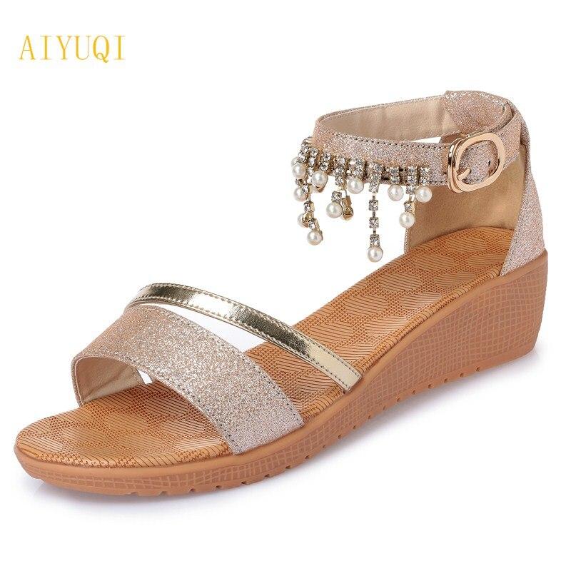 все цены на AIYUQI 2018 summer new genuine leather women sandals plus size 41#42#43# women's shoes pearl handmade ladies sandals female