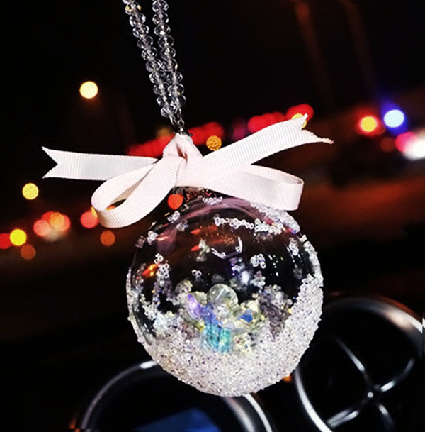 Luxury Angel Crystal Ball Car Pendant Car Rearview Mirror Glass Ornament  Hanging Decoration Auto Styling Christmas
