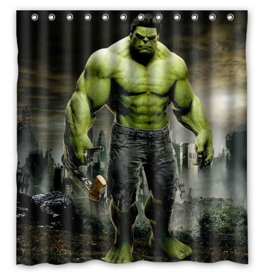 Awesome Marvel Hulk Printed Polyester Shower Curtain 66 X 72 Inch American Style Bathroom In Curtains From Home Garden On