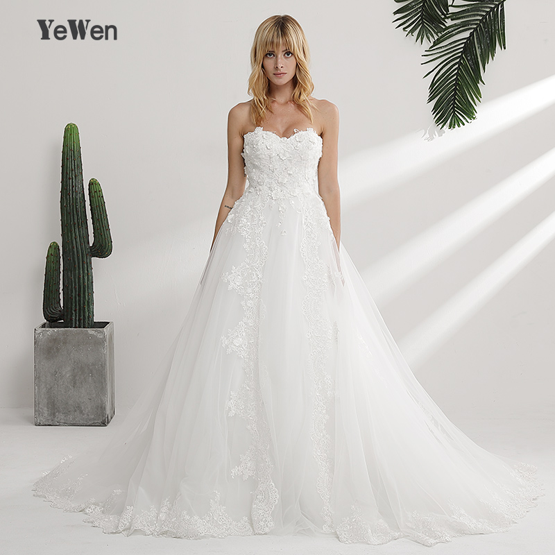 YeWen Luxury Flowers Lace Appliques Crystal Pearls Wedding Dress Sweetheart Ball Gown 2019 Wedding Dresses vestidos de novia