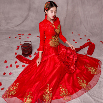 Red Wedding Cheongsam Embroidery Women Dress Evening Dress Modern Chinese Tradition Dress Bride Traditions Robe Orientale
