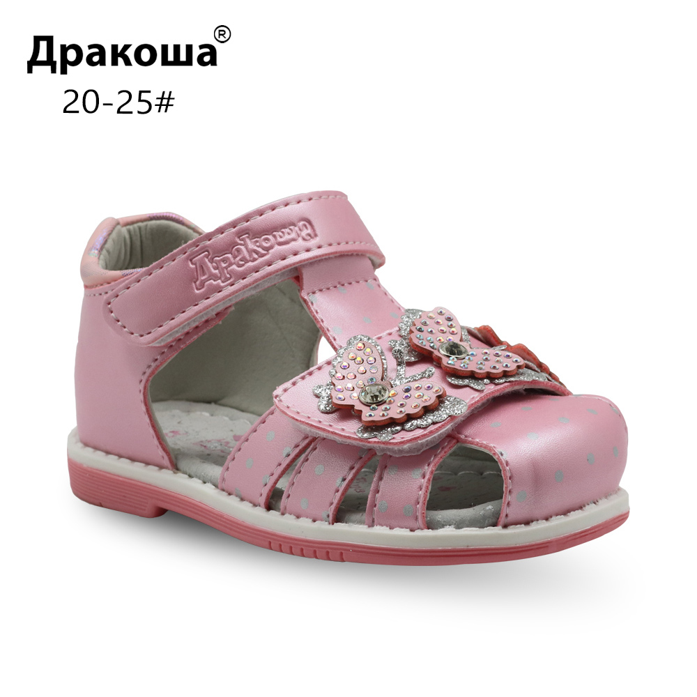 Apakowa Brand Classic Girls Orthopedic Sandals Pu Leather Toddler Kids Shoes For Girls Closed Toe Baby Flat Shoes Eur 20-25 New