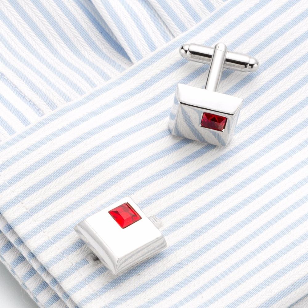 2017 New Red Square Crystal Cufflinks Red Rhinestone Cuff links Wedding Groom Gift Gemelos Wholesale 233