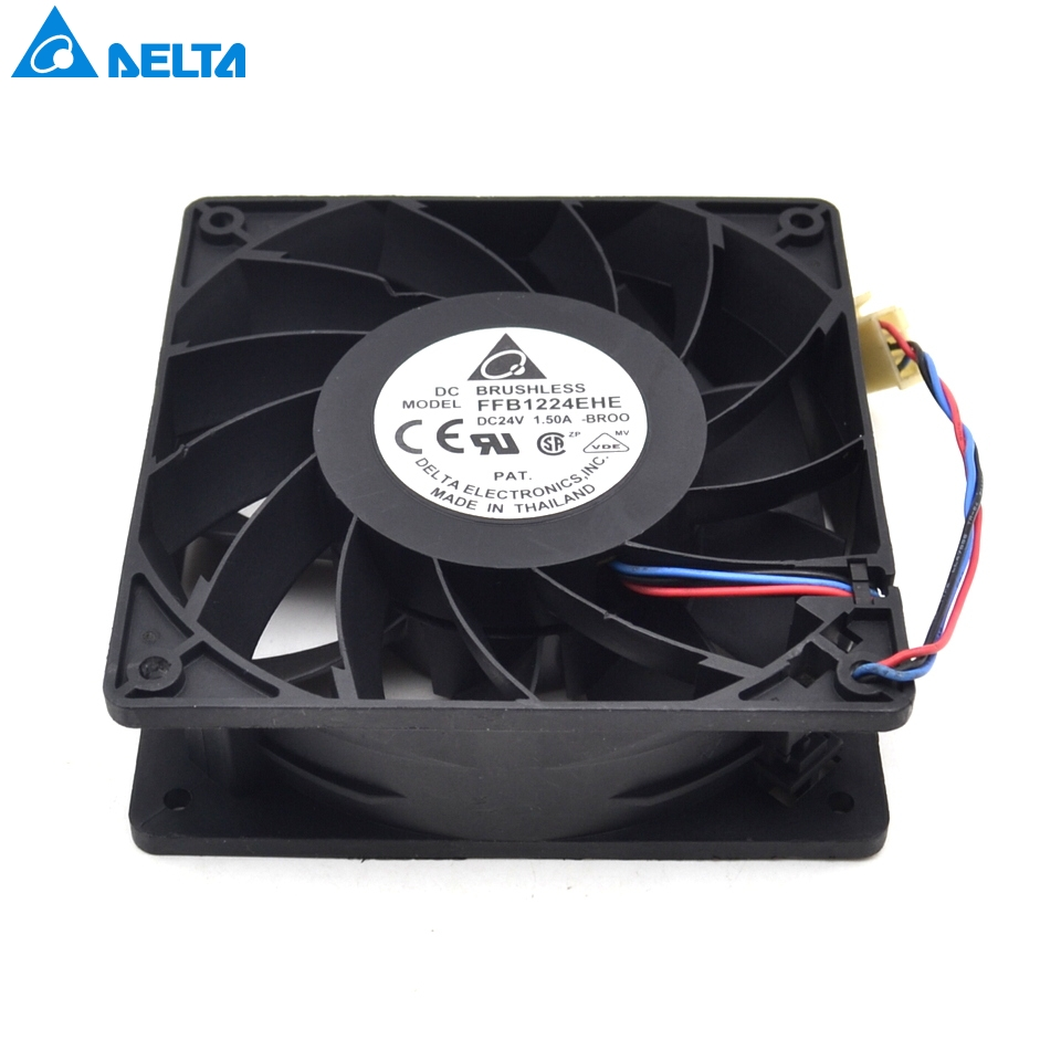 Delta FFB1224EHE-BROO 12038 24V 1.5A with original connector converter fan for new original delta 12cm tha1248be 12038 48v 2 6a cooling fan