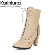 KARINLUNA 2017 Large Size 32-43 British Style Platform Women Brogue Shoes Fashion High Heel Lace Up Ankle Boots Autumn Winter