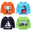 New 2016 Spring Autumn Kids Clothes 4 Colors 100% Cotton Cute Cartoon Bear Bowtie Gentleman Toddler Baby Boy Sweatshirt T-shirt