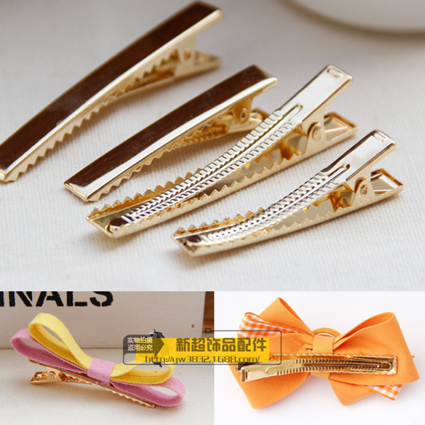 10 X Thicken 4.5cm/6cm/8cm Single Prong Metal Alligator Hair Clips Gold Hairpins Korker Bow DIY Accessories