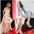 Zapatos de la boda de Novia tacones Altos Stilettos punta estrecha Bombas 2016 Otoño Europeo de La Manera Elegante de Plata Para Mujer Bombas Resbalón En 39