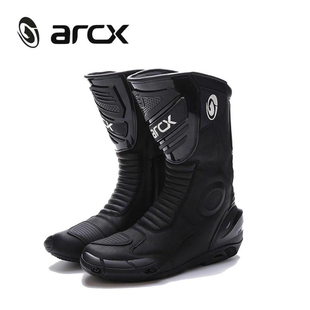ARCX Stivali Da Moto Genuino Stivali In Pelle di Mucca Stivali Da Motocross Impermeabile Moto Stivali Da Equitazione Da Uomo di Strada Moto Stivali