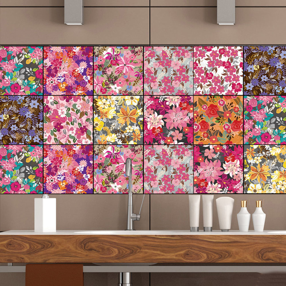 3d Diy Pattern Colors Flowers Tile Floor Sticker Kitchen