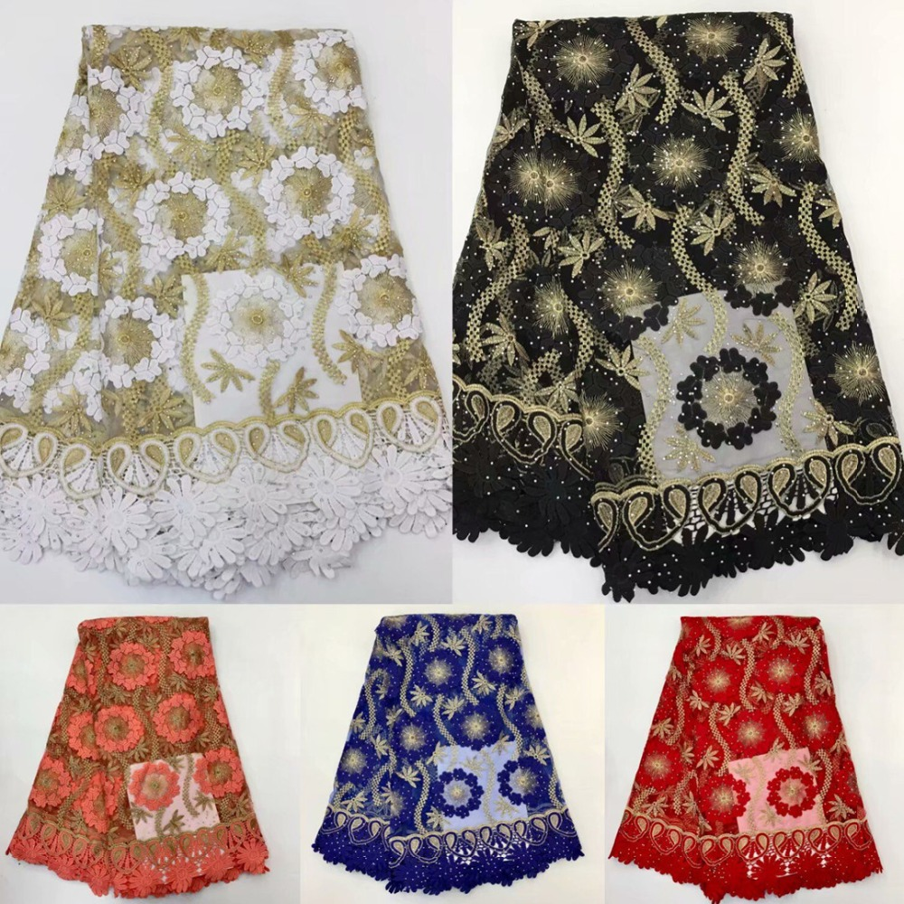 2019 high quality Stone gold line French Swiss net lace African tulle mesh Cord lace fabric for dress 5yards lot RL030503 in Lace from Home Garden
