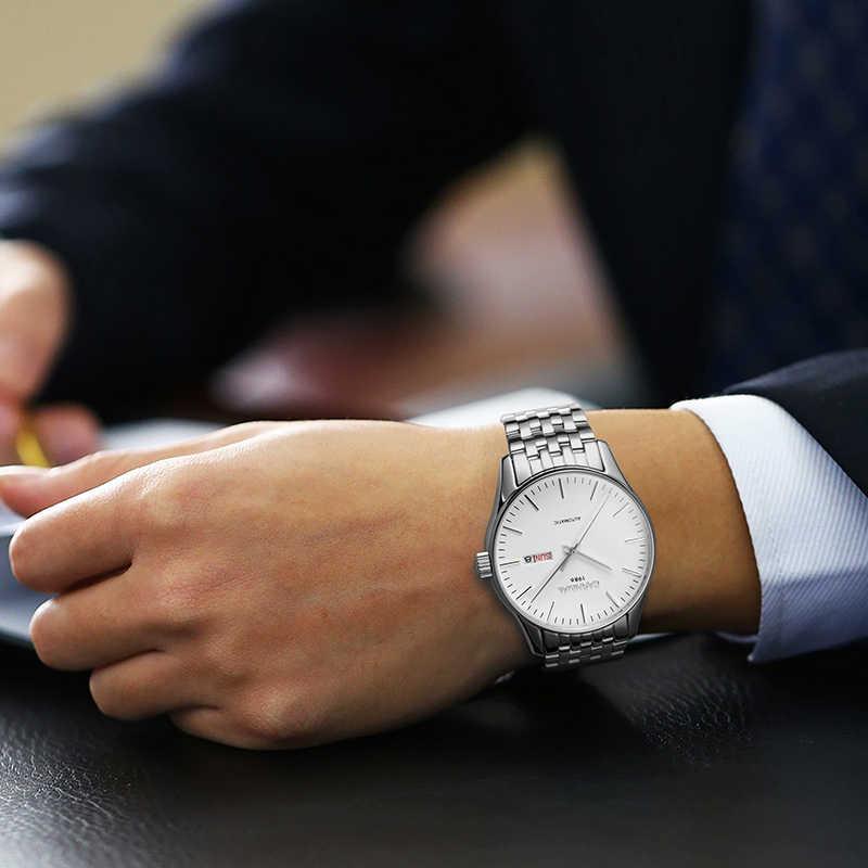 İsviçre lüks erkek saati karnaval marka saatler erkekler otomatik mekanik reloj hombre aydınlık saat safir C-8612G-7