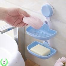 Podwójne plastikowe mydło łazienkowe półka przyssawka ściana kuchenna zamontowany uchwyt do przechowywania organizer stojak akcesoria do półek domowych