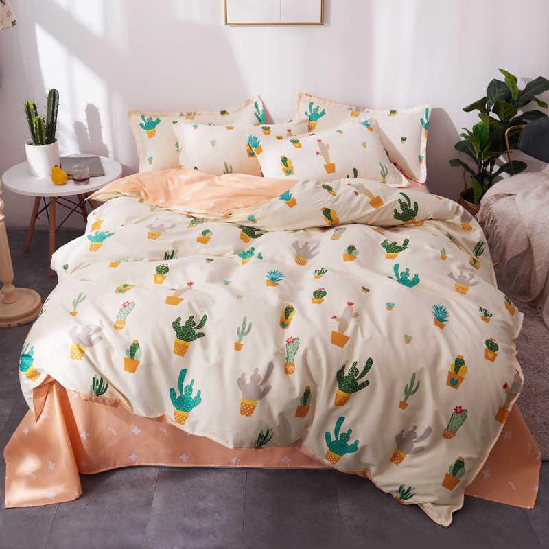 בית טקסטיל קיץ מצעים סט קקטוס שמיכה כיסוי סט גיאומטרי מיטה סט 3/4 pcs מיטת סט קצר מיטת פשתן שמיכה כיסוי + גיליון שטוח