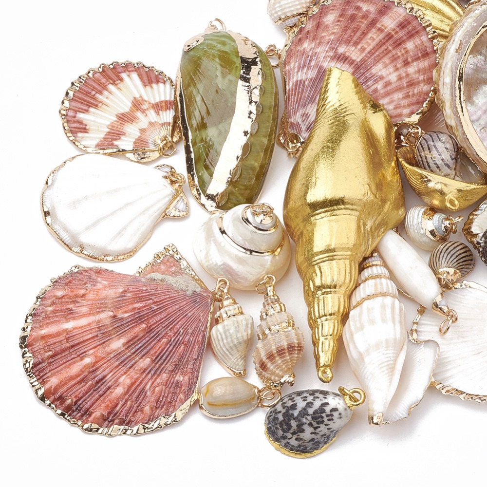 PandaHall 50pcs Natural Sea Shell Hot Summer Bijoux Necklace Pendant Natural Color with JumpRing Mixed Styles