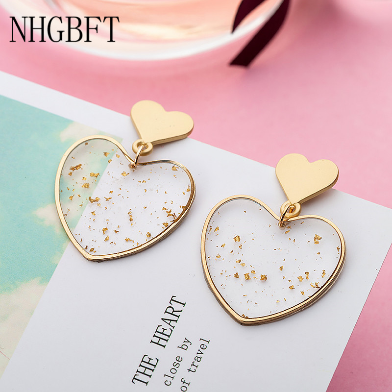 NHGBFT Simple Round Love Heart Drop Dangle Earrings For Women Transparent Geometric Statement Earrings Jewelry Dropshipping