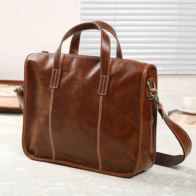 Brand Crazy Horse PU Leather Business Men Briefcase Vintage 14 Inch Laptop Handbag Casual Man Bag Shoulder Bags High Quality