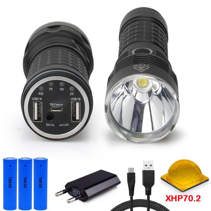 50000 lumens XLamp XHP70.2 usb chasse de poche le plus puissant LED cree xhp70 rechargeable torche 18650 mobile power lampe camping