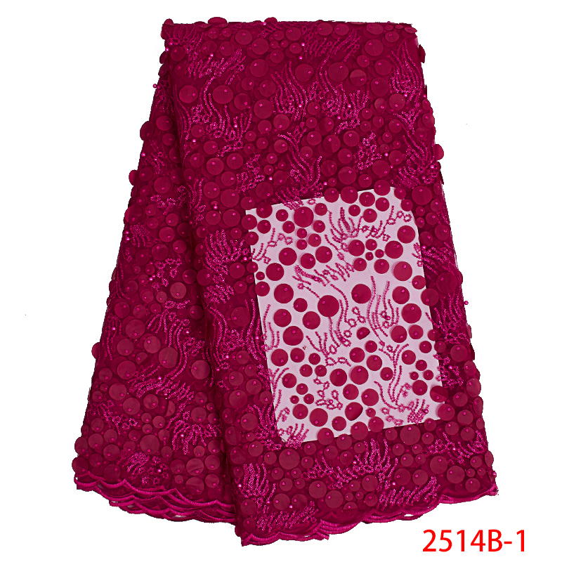 High Quality Tulle Lace Latest African Lace Fabric With Sequins Beads African French Fabrics Laces For Wedding Dresses KS2514B-1