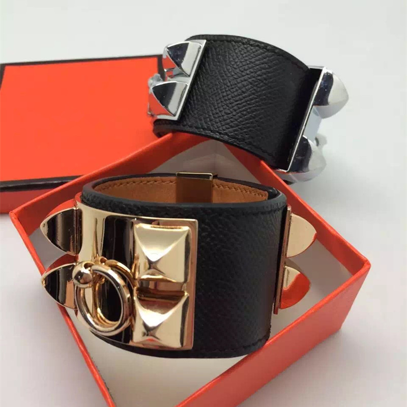 Top Quality Punk Bracelets Wide Calfskin Genuine Leather Bracelets & Bangles For Women Men Cuff Bracelet Statement Jewelry cropped wide sleeve top