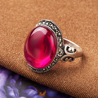 High quality female jewelry 925 sterling silver butterfly natural stone red corundum rings red fashion retro lovers best gift