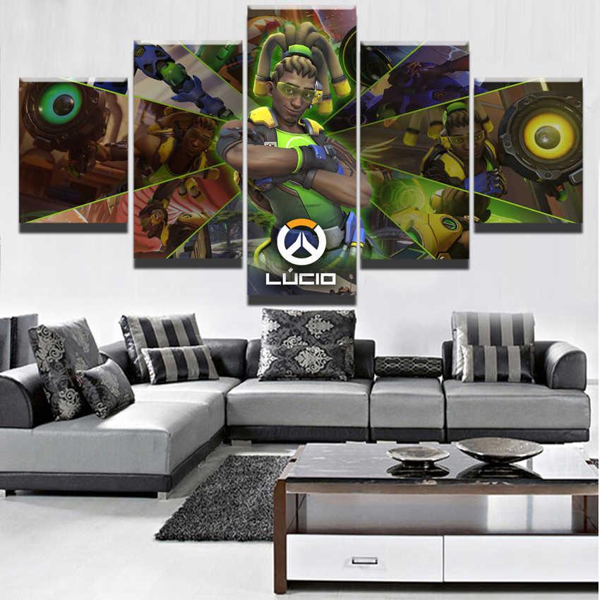 5 قطع ديكور المنزل قماش اللوحة لوسيو Overwatch قماش مطبوعة لعبة صور جدار الفن اللوحة المشهد المشارك الفني