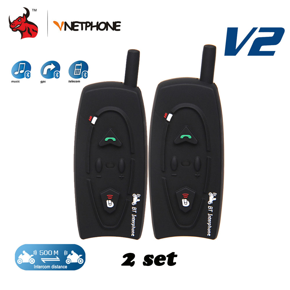 VNETPHONE 2 Sets 1200M Moto Helmet Bluetooth Intercom Interphone Headset For 2 Riders Full Duplex Wireless BT Intercom Headset