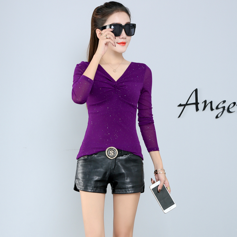 2018 New Autumn Women   Shirts   Full Sleeve Slim V-Neck Base   Blouse     Shirt   Khaki Purple Black 681