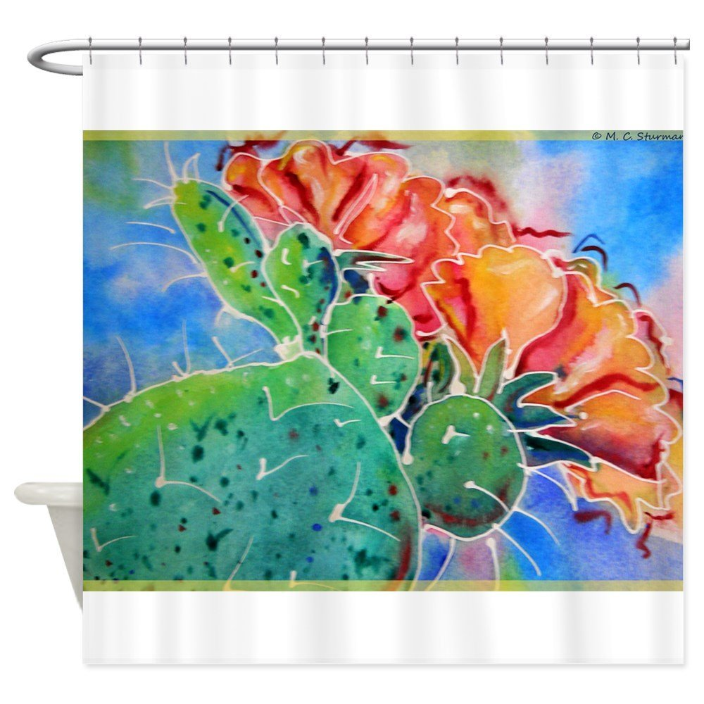 Cactus! Colorful southwest art!, Prickly Pear! Sho Decorative Fabric Shower Curtain Set and Floor Mat Non-slip Doormat Rug