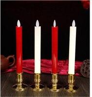 Boda velas LED arte velas palo con vela soporte rojo/blanco