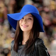New Style Vintage Wide Brim Wool Felt Bowler Hat Floppy Cloche Women's Large Hat