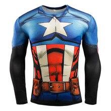 Mens Compression Shirt Superhero Superman Capitan America Iron Man 3D T Shirt Brand Clothing Fitness Men