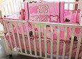 Promoção! 4 pcs fundamento do bebê bordado kit berço cama cama em torno de peças conjunto, Incluem ( bumper + tampa + cama edredão + cama saia )