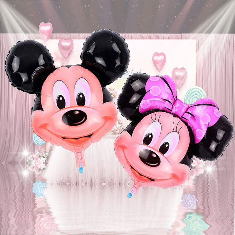 New 5Pcs Mickey Mouse Minnie head foil balloon Kids Birthday Party Decoration Baby Shower Supplies Inflatable Balloons