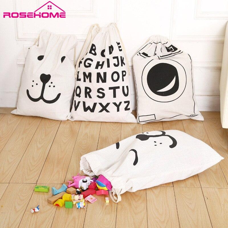 ROSEHOME White&Black Cartoon Animal Face Pattern Storage Bag Linen Cotton Desk Toy Storage Baskets Holder Laundry Bags