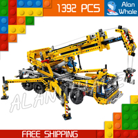 1392pcs Techinic 2in1 Mobile Crane Arms DIY 8 Truck 20040 Wheels Figure Building Blocks Collection Toy Compatible With LegoING