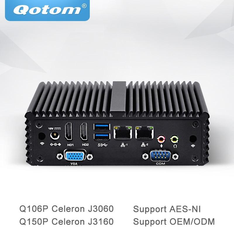 Qotom Mini PC with AES-NI Quad Core Celeron J3060 J3160 Processor Fanless Thin Client Little Box Dual Gigabit NIC PC Q106P/Q150P new thin client computers with 4 gigabit ethernet lan 1 7g dual core 4g 500g fanless industrial pc x86 network security