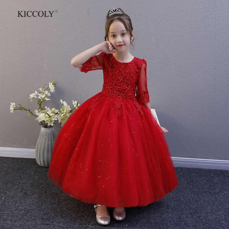 KICCOLY 2018 Flower Girls Dresses For Party Baby Girls Lace Half sleeve Beaded Princess Wedding Dress Children Ball Gown Dress girls long formal dress 2017 flower girls princess dresses kids lace vintage evening party ball gown children s wedding dress