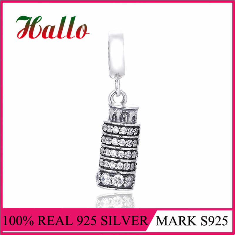 925 Sterling Silver The Leaning Tower of pizza Charms Fits Charms Bracelet DIY Beads Genuine Silver Dangle For Brand berloque