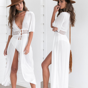 3 Color Sexy Bikini Cover Up Women Beach Dress 2019 Swimwear Chiffon Plus Size Bathing Suit Maxi Dress Bandage Kimono Cardigan 2