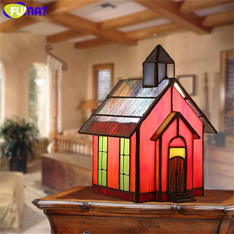FUMAT Glass Table Lamp Small Stained Glass Lamp Creative Personality Art Desk Lamp Bedroom Bedside Decor Light Fixtures