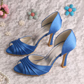 Wedopus MW209 Fashionable Bridal Blue Shoes Satin Wedding Heels Peep Toe