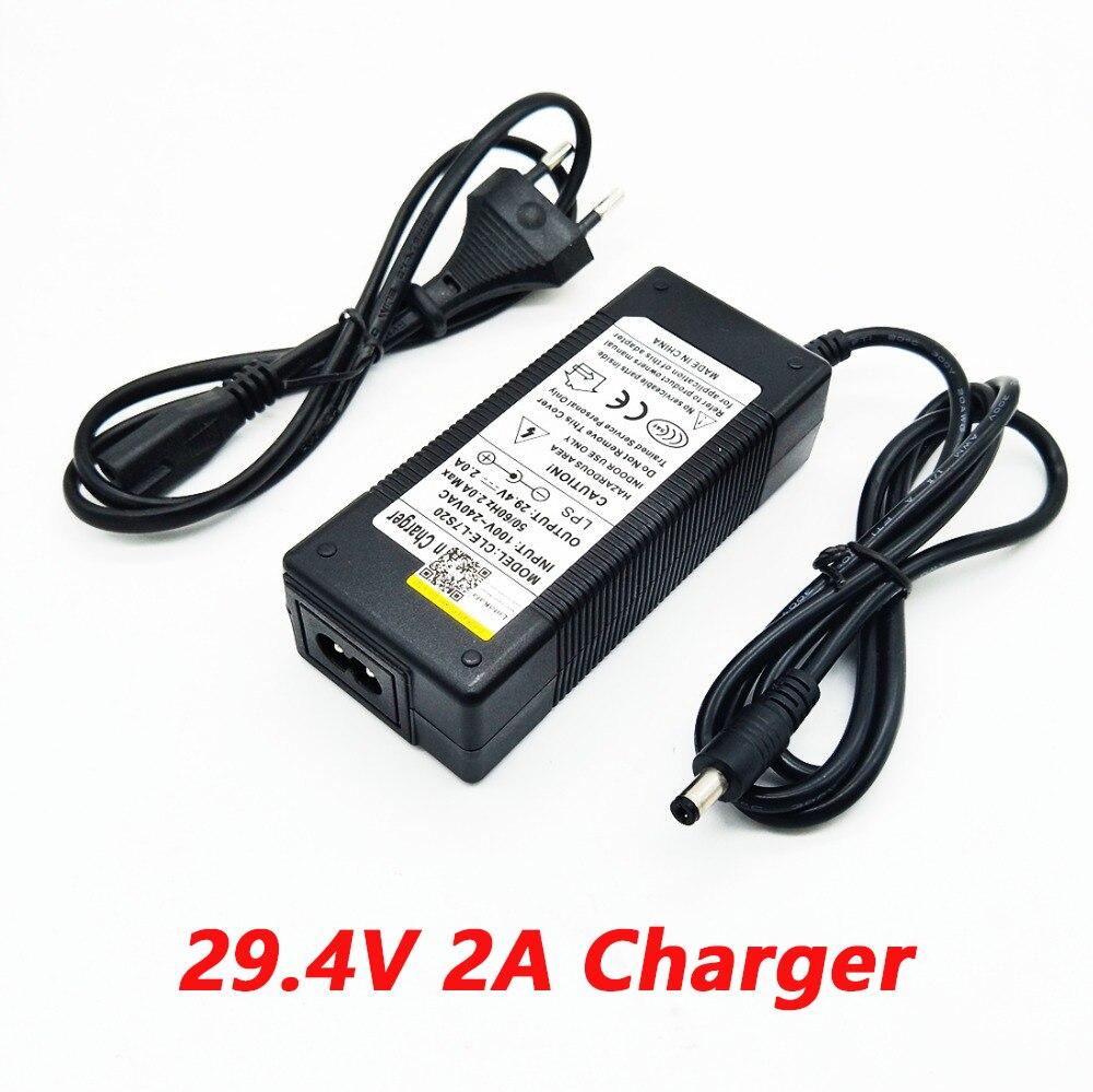 Nueva alta calidad 29,4 V 2A bicicleta eléctrica cargador de batería de litio para 24 V 2A batería de litio enchufe RCA conector del cargador