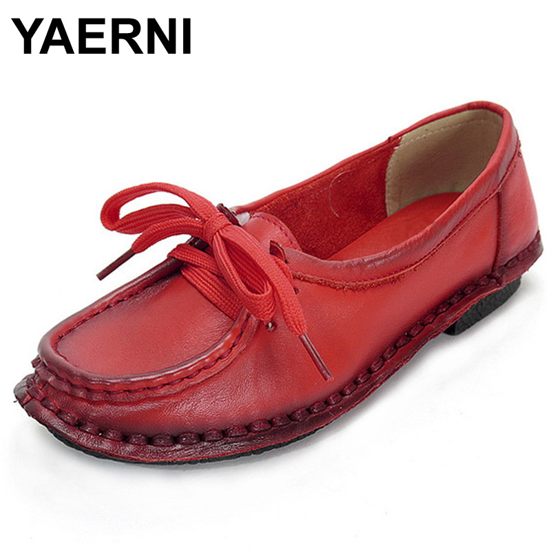 YAERNI Women s Handmade Shoes Genuine Leather Flat Lacing Mother Shoes Woman Loafers Soft Single Casual